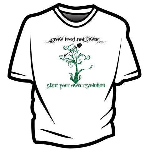 Grow food not lawns    The fans have spoken so we answered, here is the first ever, official t-shirt of grow food not lawns social media campaign!! And they are only $15! $20 for American Apparel woman's v-neck. Or $22 for the organic made in the USA version. Thank you in advance for your support!!    Facebook store:  https://www.facebook.com/GrowFoodNotLawns/app_211311762253380    Website:  http://www.growtestgear.com/