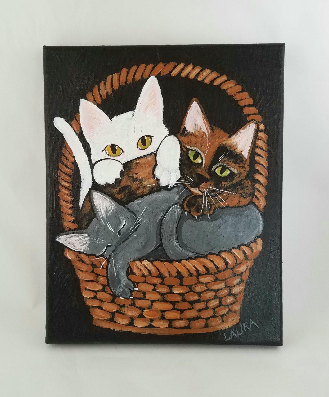 Kitten Painting Original Cat Art Basket Of Kittens Canvas Acrylic Painting Contemporary Folk Art White Cat Gr Cat Painting Cat Art Contemporary Folk Art
