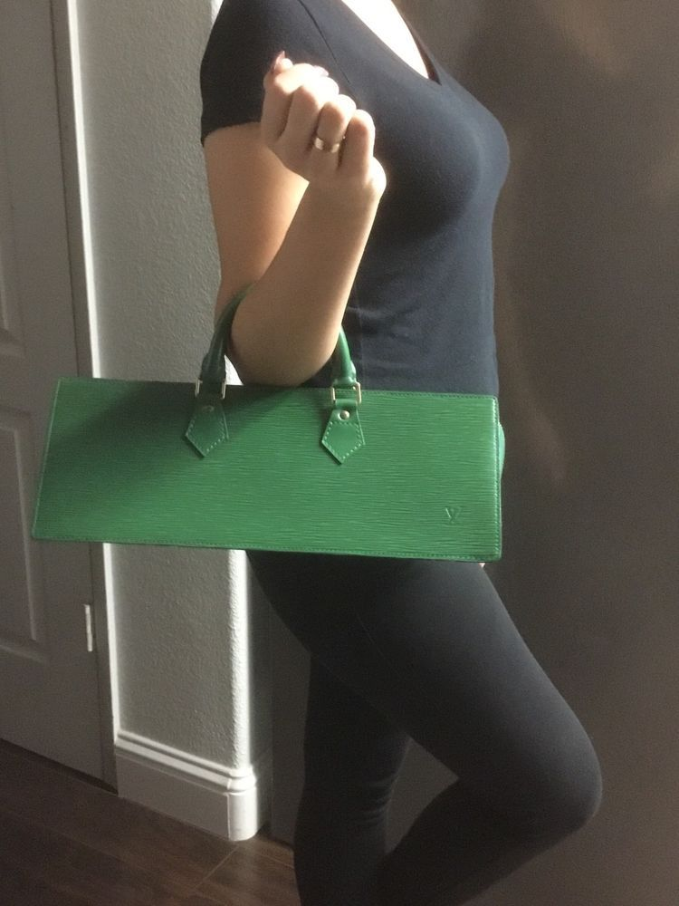 9ce42a336725 Authentic LOUIS VUITTON Vintage SAC TRIANGLE Rare Lucky Green Tote Handbag  Bag