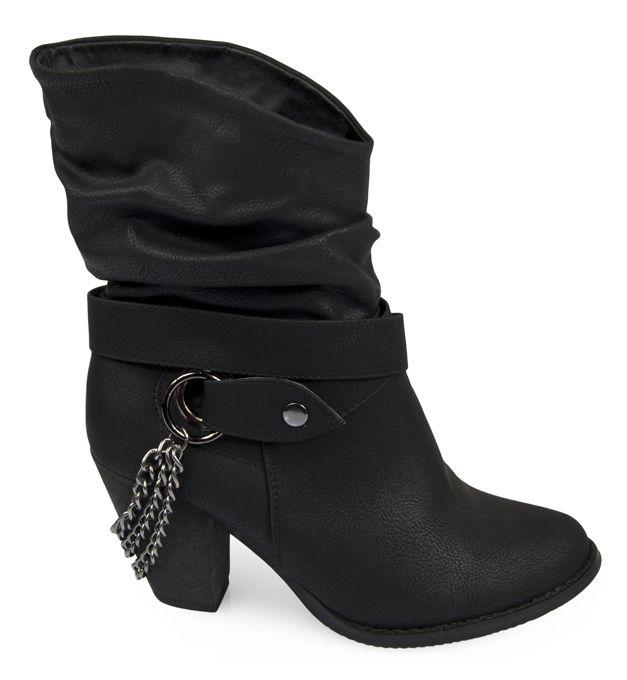 Marszczone Botki Kowbojki Z Lancuszkami Biker Boot Boots Shoes