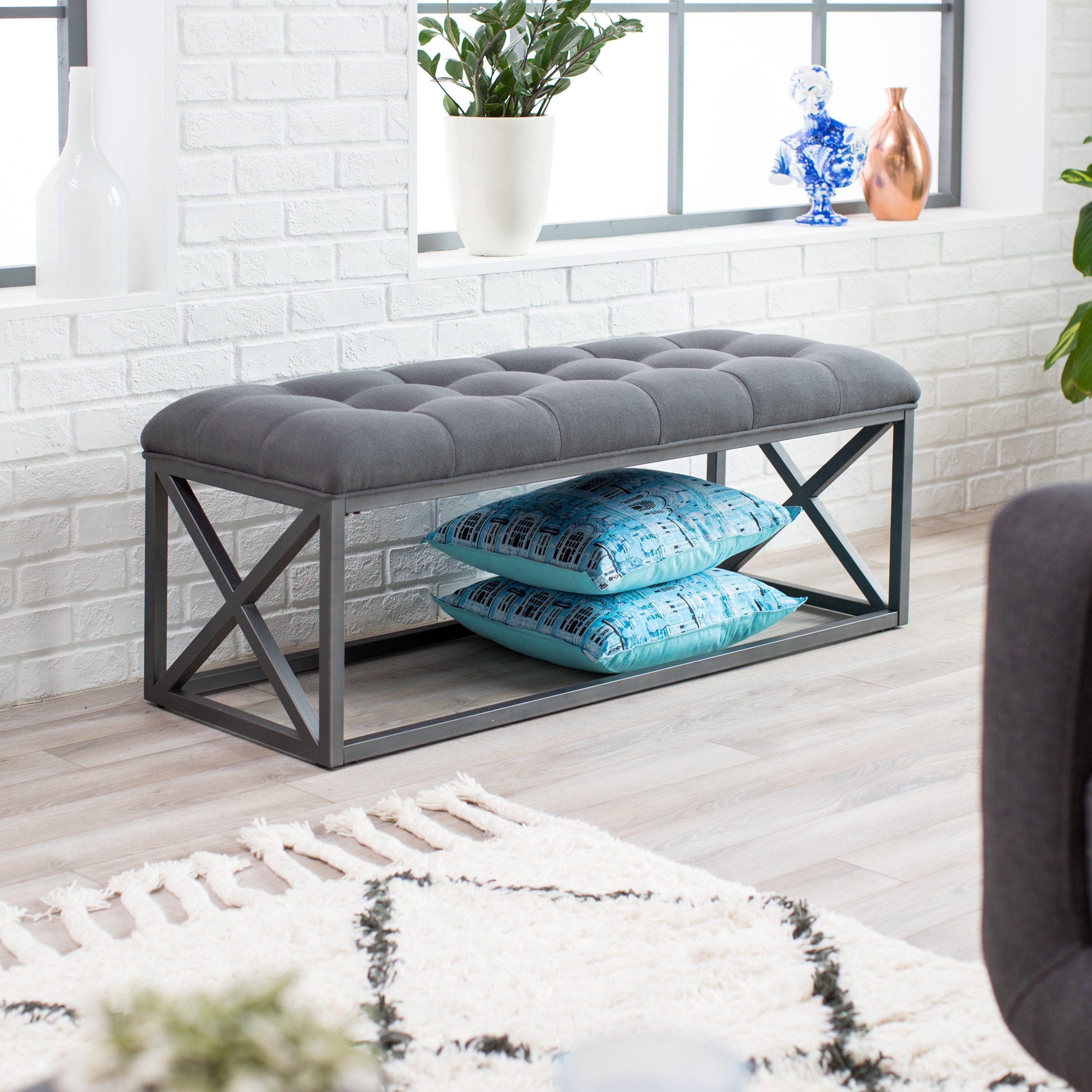 Belham Living Grayson Tufted Backless Bench 6640b M111 647 Elegant Living Room Decor Living Room Bench