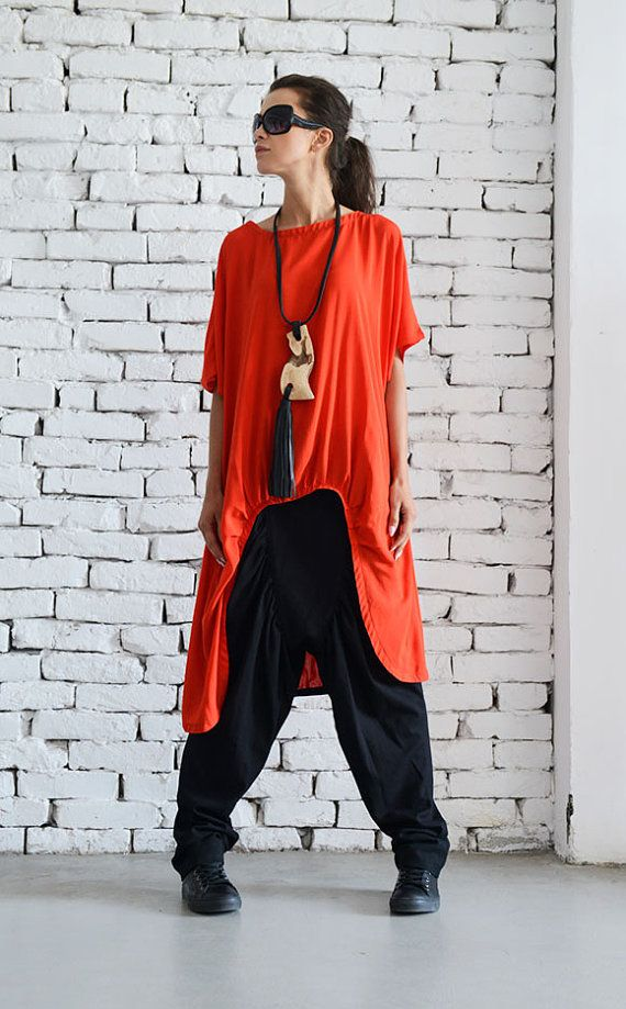 Red Asymmetric Loose Tunic/Extravagant Casual Top/Short Sleeve Shirt/Oversize Long Red Top/Summer Tunic Top/Red Maxi Tunic Dress