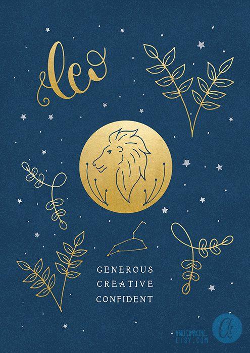 Leo zodiac art print star sign astrology gifts by AbbieImagine