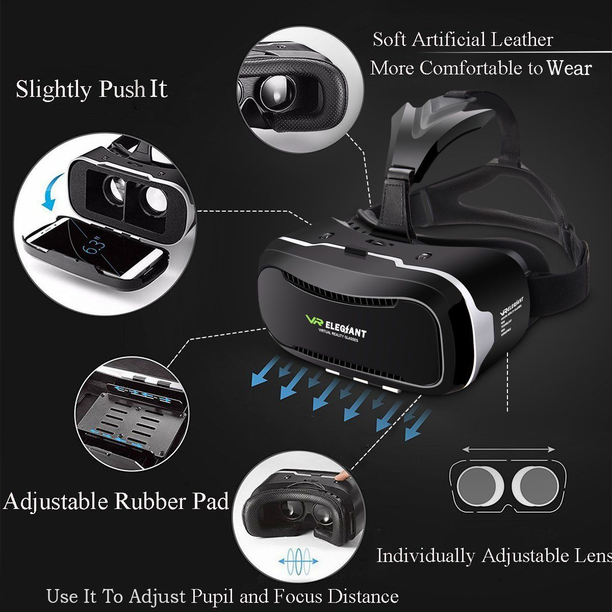 14b5496716d Virtual Reality Headset ELEGIANT 3D VR Glasses Virtual Reality Box for 3D  Movies Video Games for