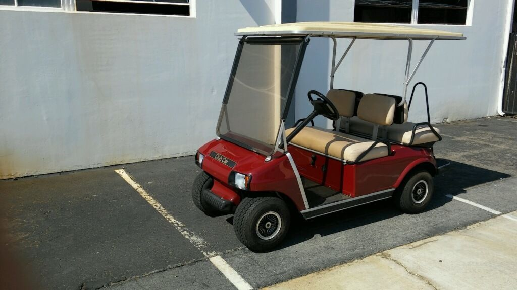 Best Club Car Ds Burgundy 4 Passenger Seat Extended Roof Lights 400 x 300
