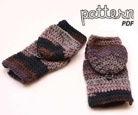 Crochet Pattern Fingerless Mitten With Flaps Springcasuals