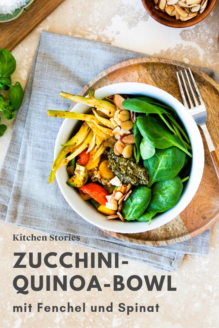 Zucchini Quinoa Bowl Mit Fenchel Und Spinat Rezept Rezepte Quinoa Zucchini Rezepte Mit Fenchel