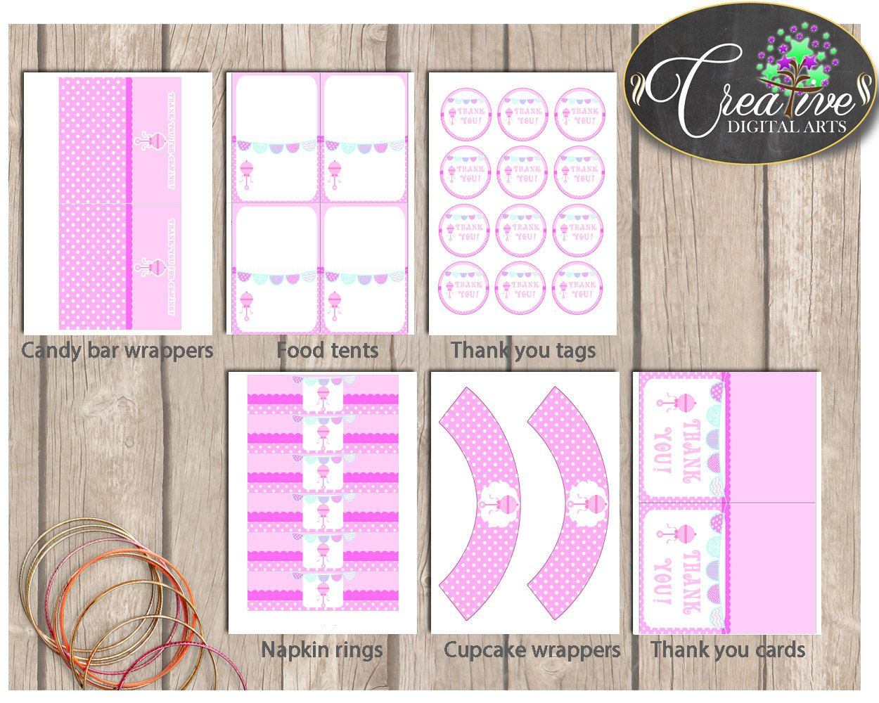 Baby Shower Girl Pink Decoration package bundle set printable with baby rattle pink theme, Jpg Pdf - Instant Download - bsr01 #babyshowerparty #babyshowerinvites