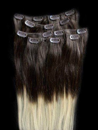 """$249.00 16"""" 100% REMY Human OMBRE Hair Extensions 7 Pcs Clip in #2/613 .The top is #2 (Darkest Brown) to a #27 (Platinum Blonde) on the ends of the hair. Our 100% human hair 16"""" clip-in extensions are made from the finest quality protein rich 100% human hair. Available in many colors levels. Lightweight and easy to attach, these virtually undetectable extensions can be put in and taken out in a matter of minutes..."""
