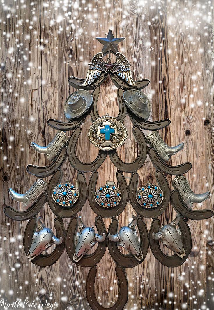 Cowboy Christmas Horseshoe Tree with southwestern concho ornaments