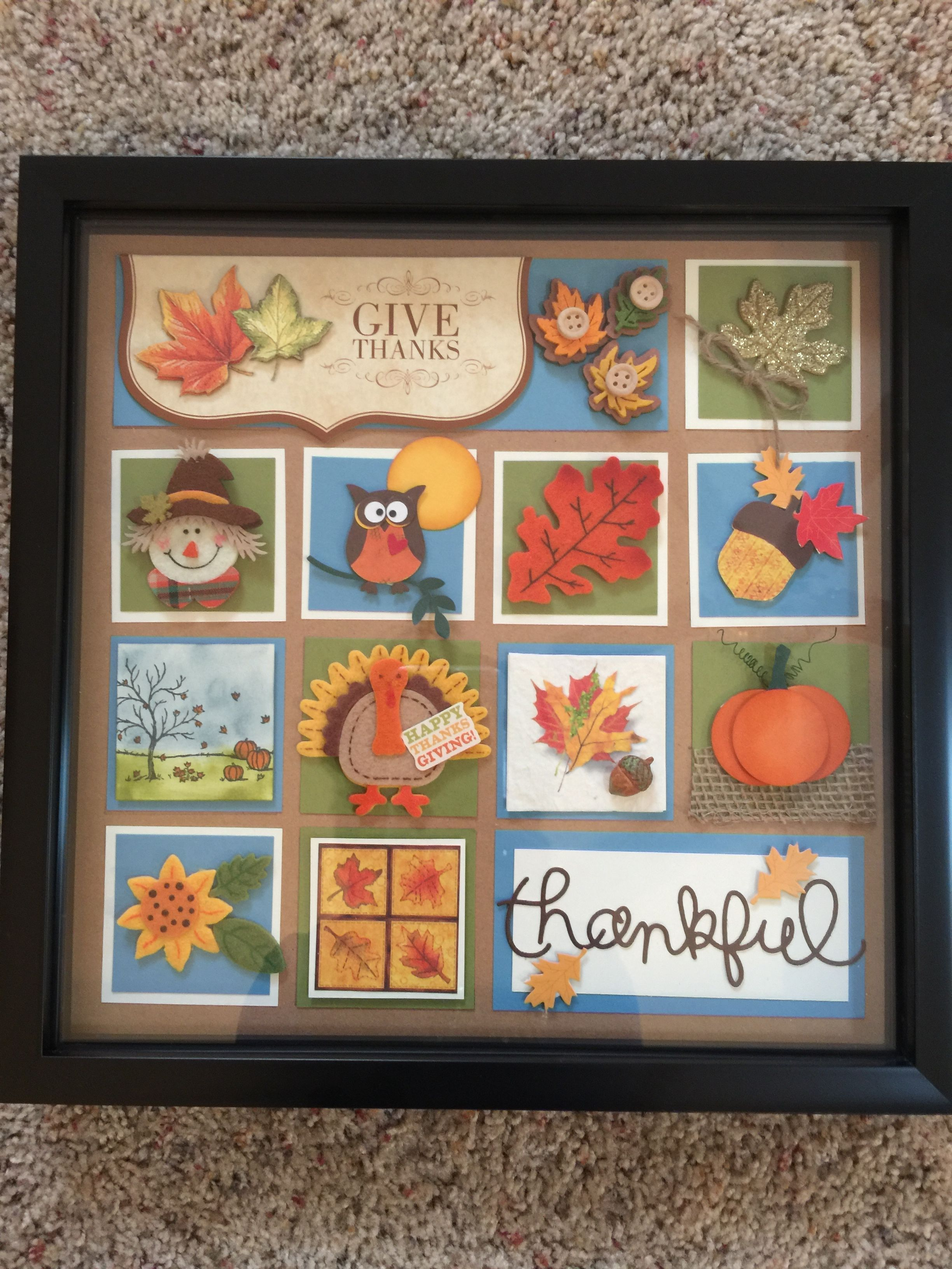 Shadow box for a fall birthday. | Samplers | Pinterest | Cuadro y Papel