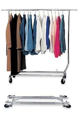 Chrome Single Rail Salesman Rolling Garment Racks Store Supply