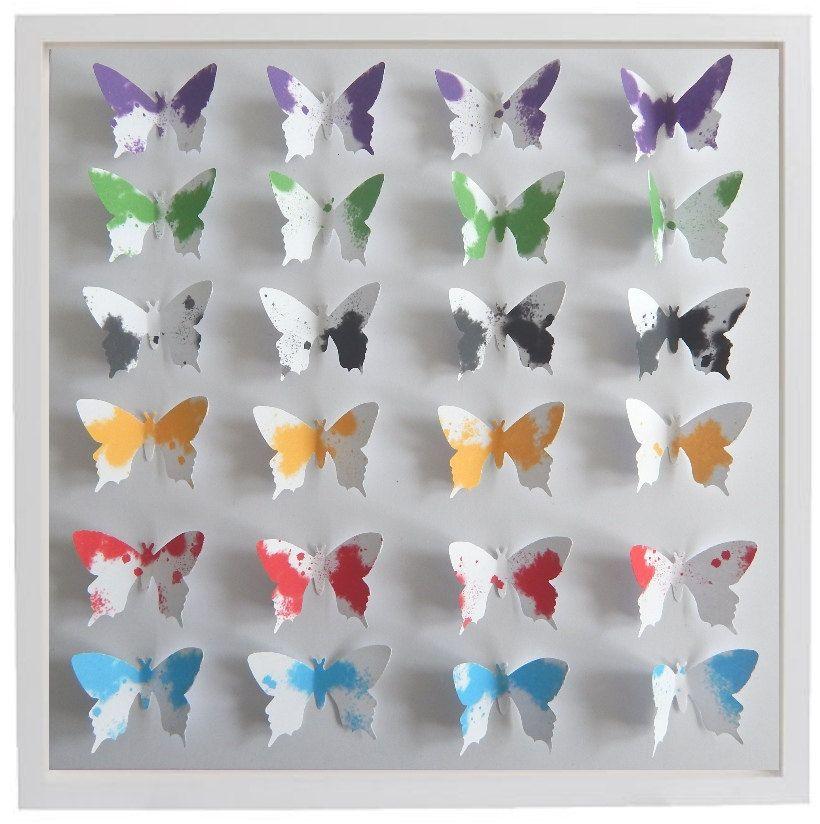 3D Butterfly Framed Art (Colourful splats) 3d butterflies, living ...