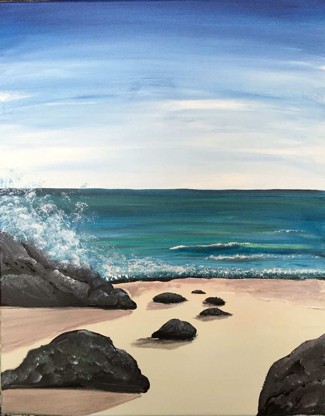 Would Be A Good Small Start To Learning Ocean Landscapes Beach Painting Ocean Painting Beach Scenes