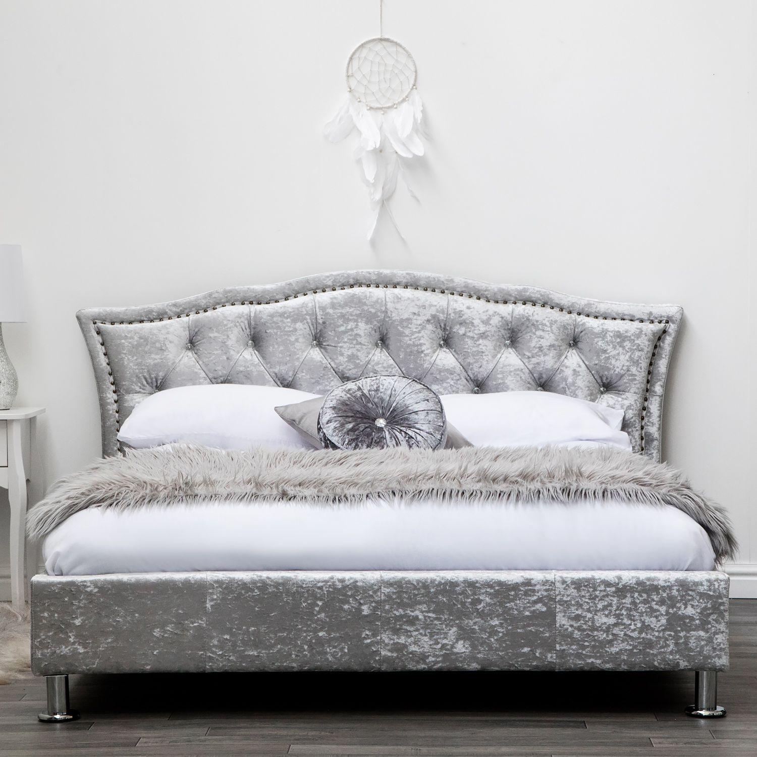 Diamante Silver Crushed Velvet Upholstered Low Designer King Size Bed Frame Upholstered Bed Frame Velvet Upholstered Bed King Size Bed Frame