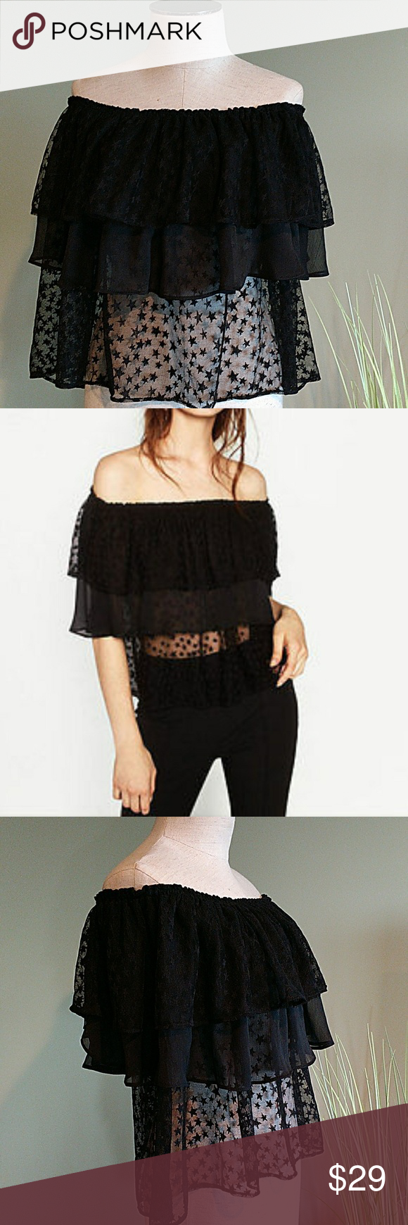 de7d81112b55ba Zara Basic Off Shoulder Layered Ruffle Top Off the shoulder style. Crop  silhouette