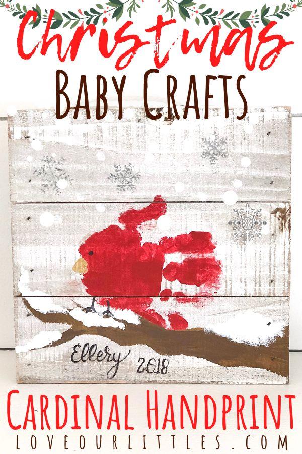 DIY Christmas Baby Crafts: Cardinal Handprint  #babychristmascrafts