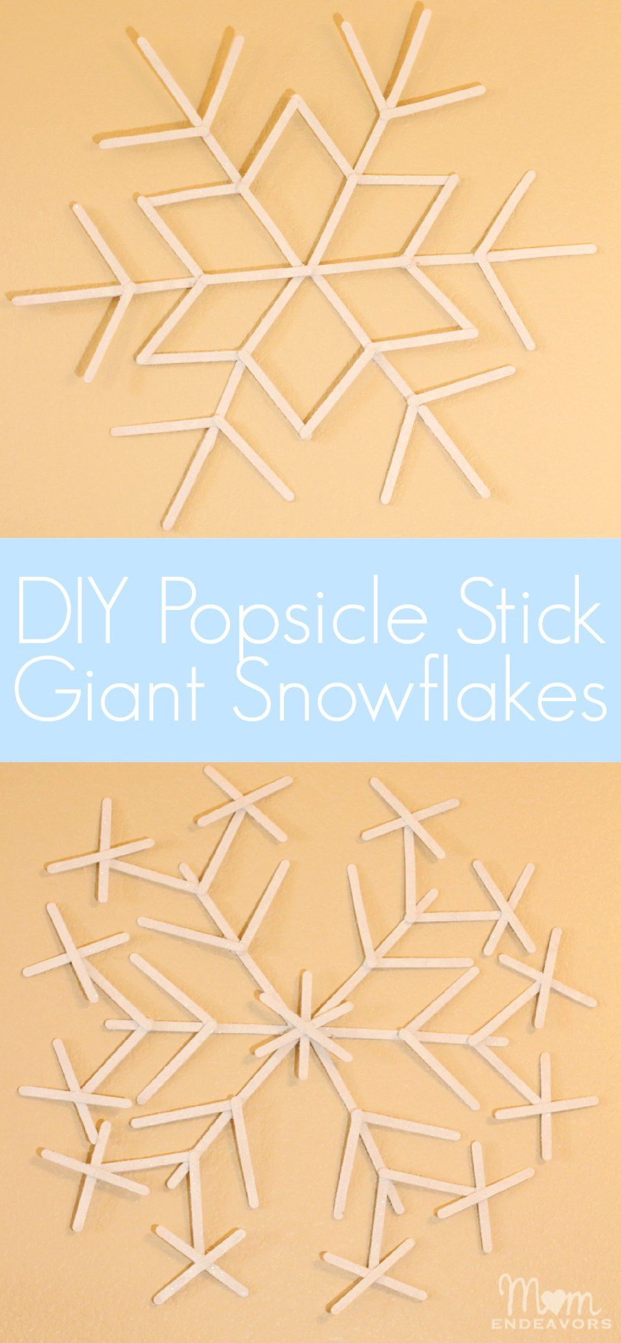A fun & easy Christmas/Winter craft project! Make giant popsicle stick snowflakes! #ValueSeekersClub