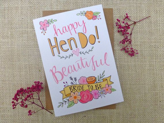 Hy Hen Do Bride To Be Quirky Hand Drawn Greeting Card