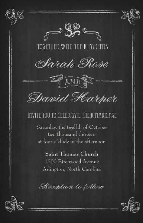 Wedding Invitations Vistaprint.Vintage Chalkboard Wedding Invitation Vistaprint