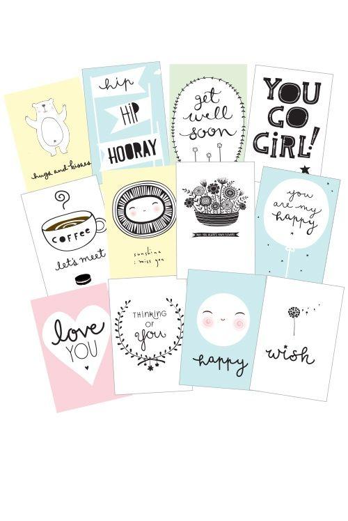 Sentiments kaarten (set van 12) van A Little Lovely Company bij Grasonderjevoeten.nl