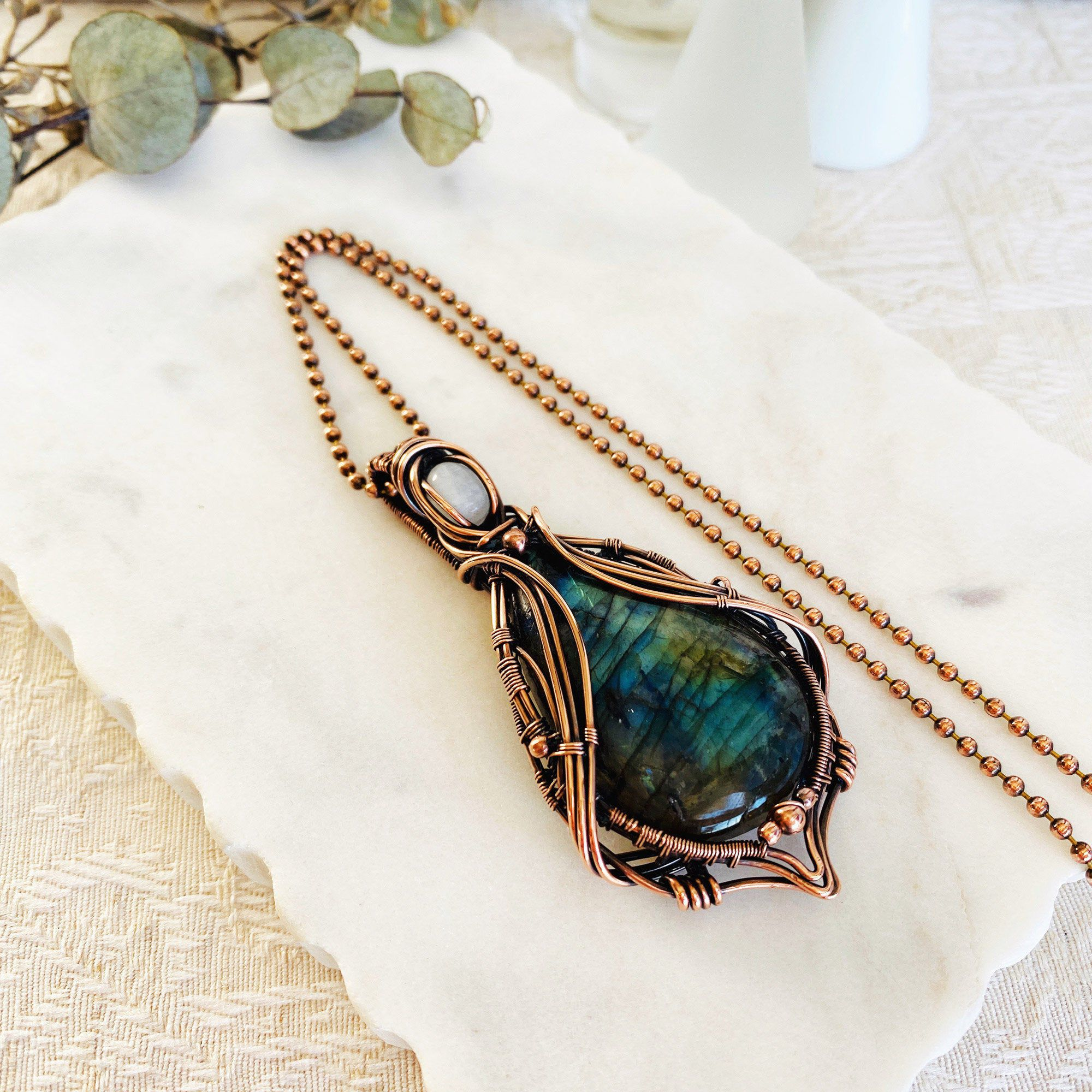 Blue and Green Fire Wire Wrapped Labradorite Gemstone Pendant