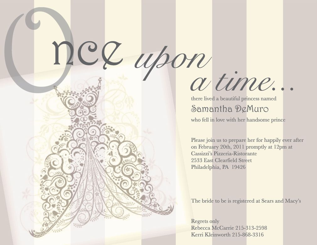 Once Upon A Time Fairy Tale Vintage Bridal Shower Invitation