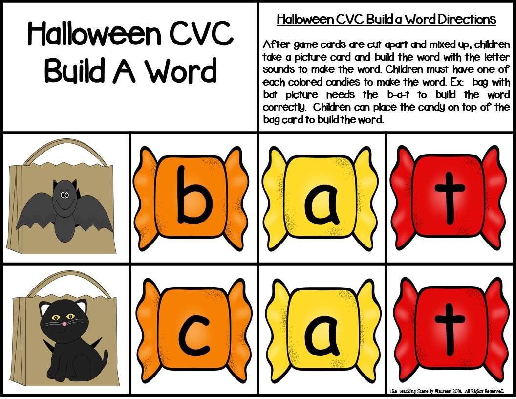 Halloween Build A Word Phonics Game For K 1st Special