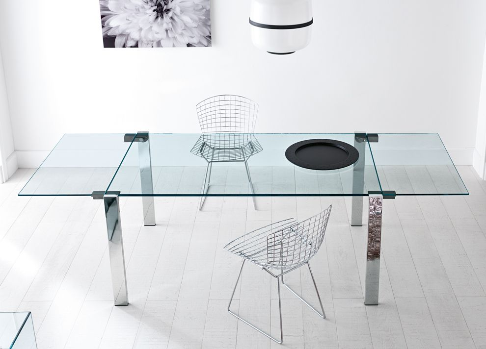 Livingstone Extension Dining Table With Chrome Legs And Extra Clear Glass Top By Tonelli