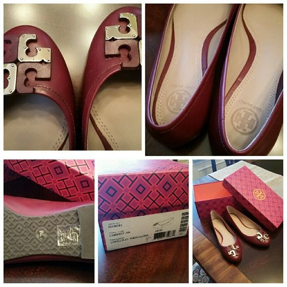 Tory burch Lowell Flat Cabernet is the color. These were purchased for full price of $250. I wore them one time. I normally wear a 6.5 but had to go to a 7 in these. Tory Burch Shoes Flats & Loafers