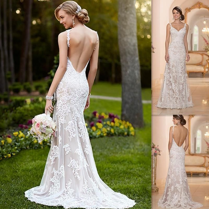 2015 Vintage White Lace Backless Wedding Dresses Mermaid V-neck Spaghetti Straps Bridal Gowns Garden UK Custom Made Bride Dress Hawaiian Online with $131.0/Piece on Magicdress2011's Store | DHgate.com