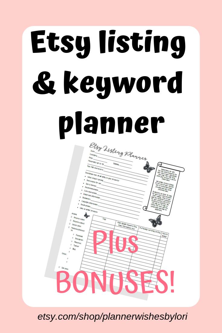 Listing Description | printable planning pages for EtsyRank ...