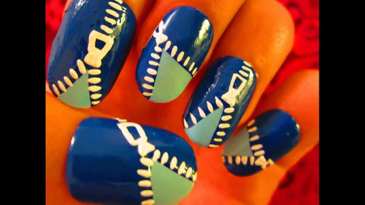 Nail art tutorial funky blue zipper nail art pinterest art