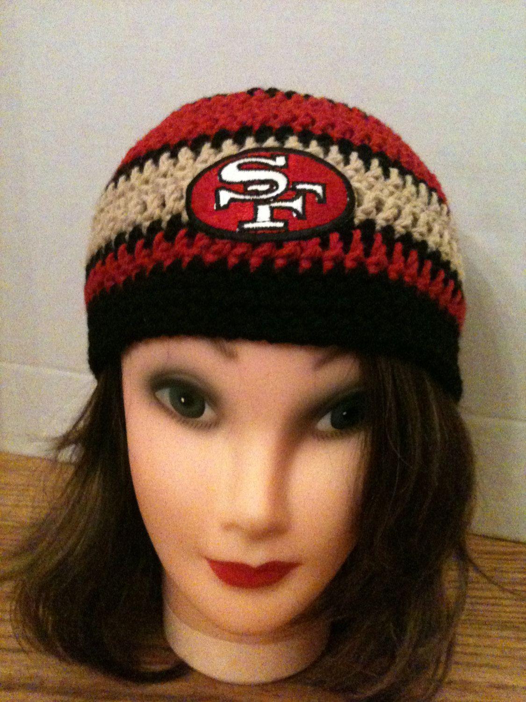 0010d7a1625 SF 49ers Crochet Beanie in 80 s Red   Gold w by juliedeecrochet ...