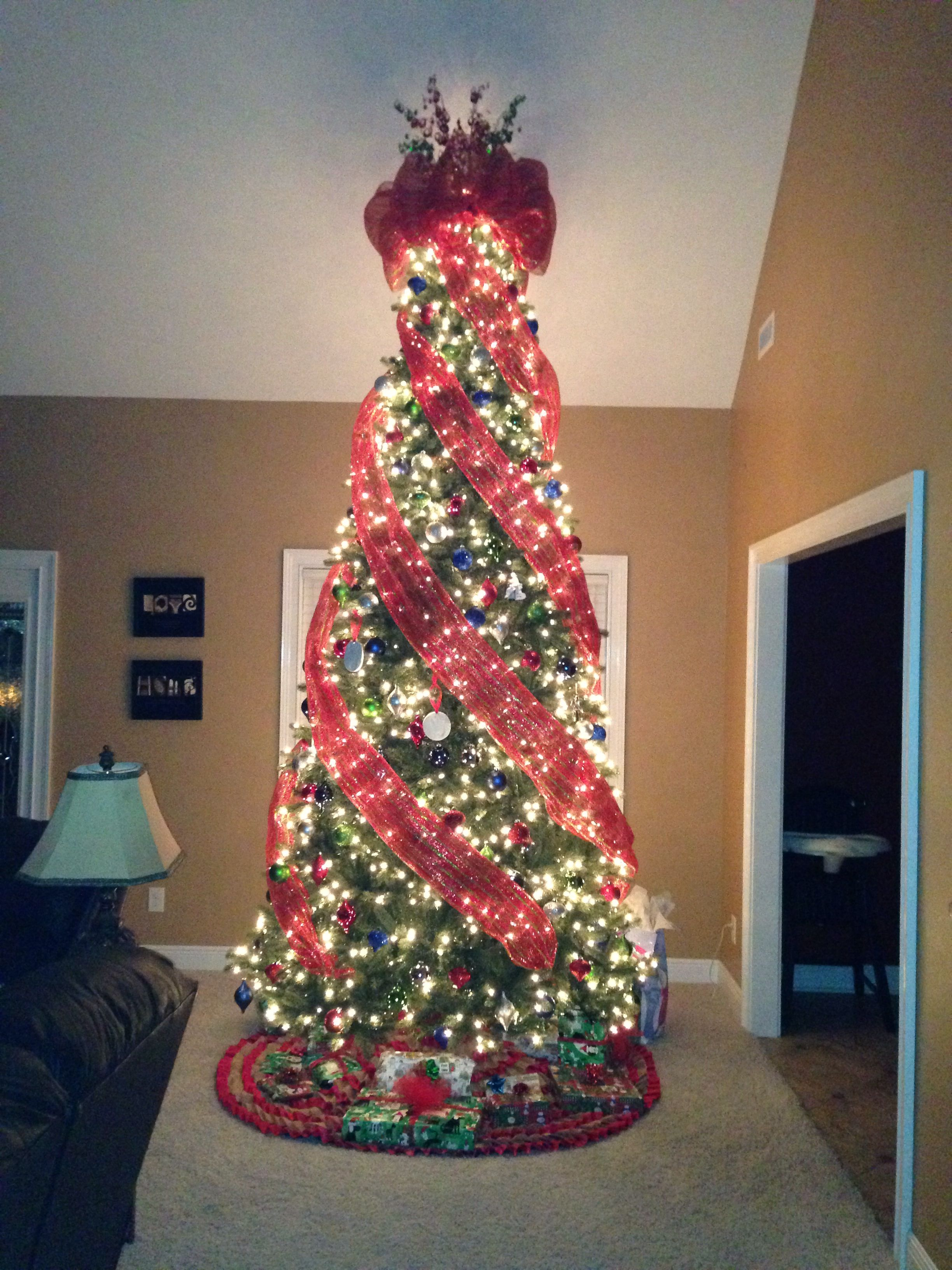 Our 12 ft deco mesh Christmas tree | Mesh christmas tree ...