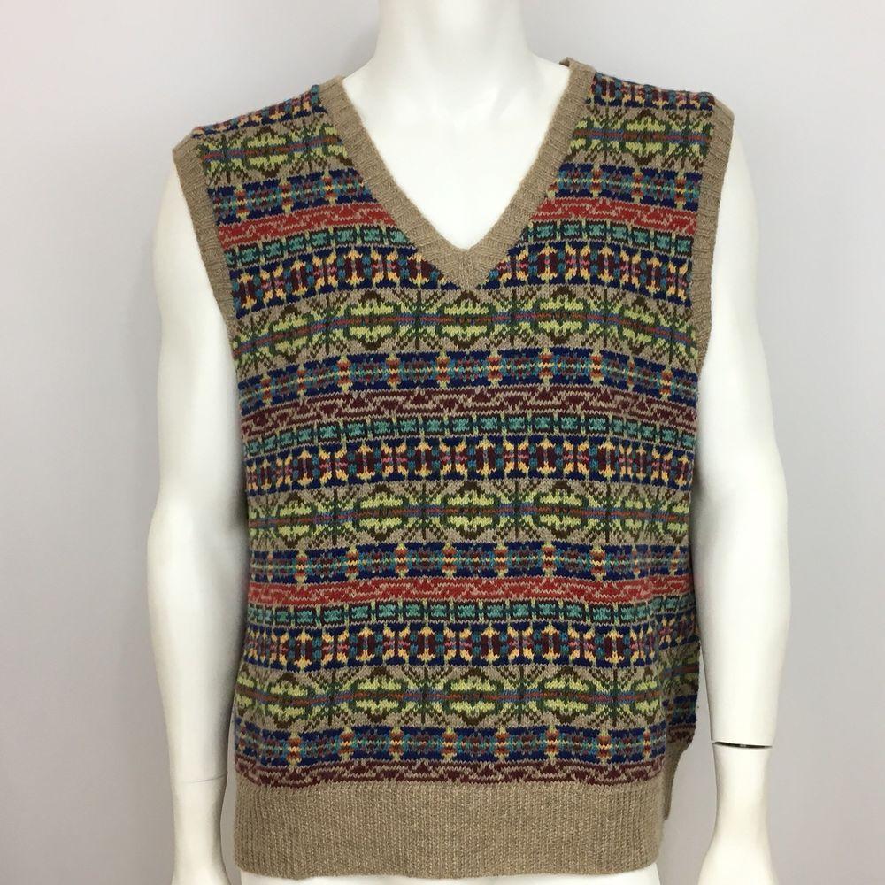 6d64e8deb Polo Ralph Lauren Sweater Vest Wool Fair Isle Mens Size XL Multi-Color   PoloRalphLauren  Vest
