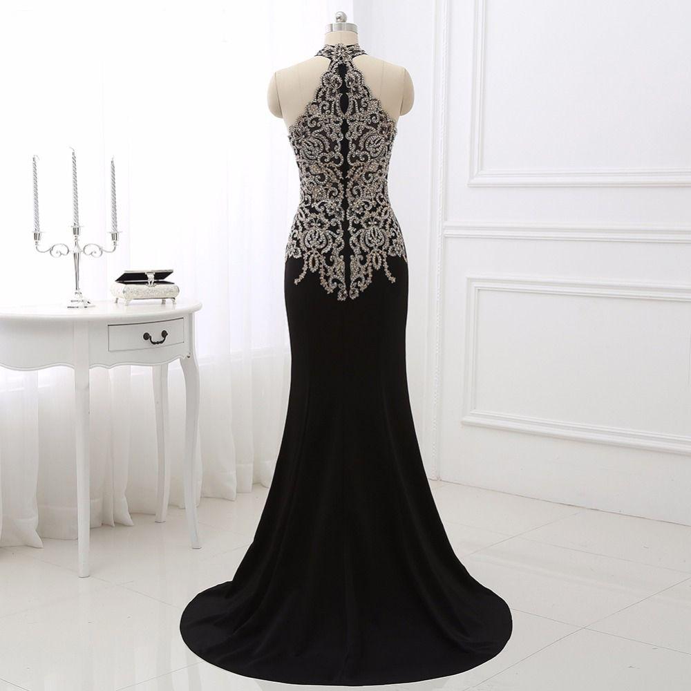 Gold appliques formal dressessexy halter mermaid dress sleeveless