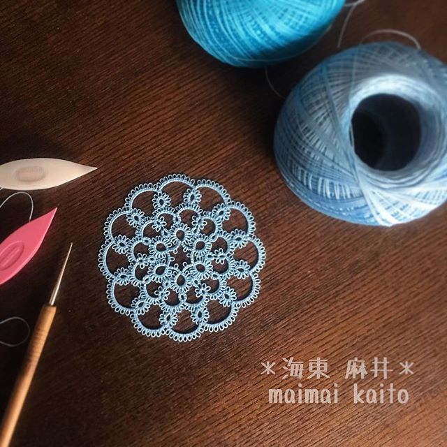 ' fluffy ' #tatting #maimaikaito #originaldesign #タティングレース #オリジナルデザイン #tattinglace