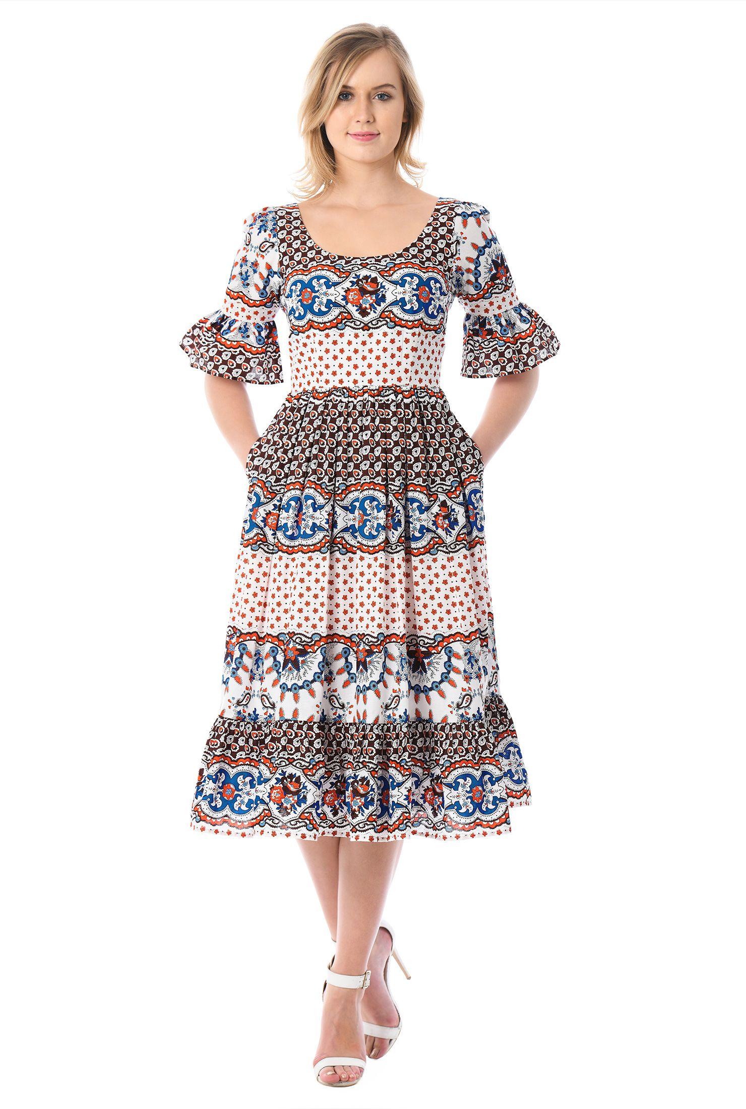 Cotton Dresses Elbow Sleeve Dresses Lightweight Dresses Machine