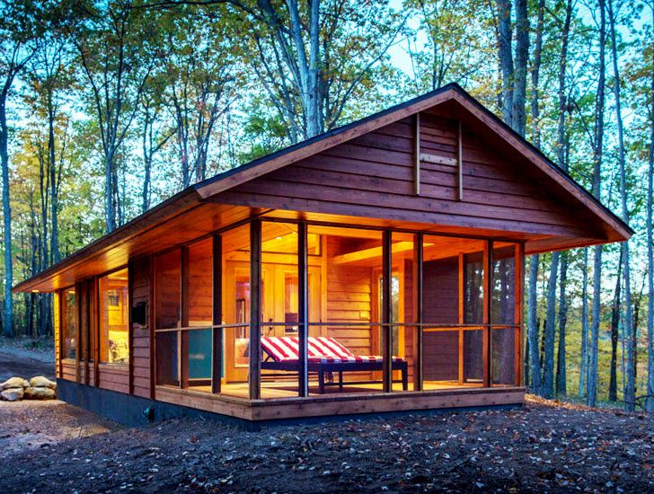 Escape Cabin... We could enclose the porch to extend living space, build large closets in the porch room, build a storage staircase up to a second floor loft bedroom, build window seat dining space, and put in an island. Then we could build the music studio/ guest suite and handicap accessible mother in law house separately