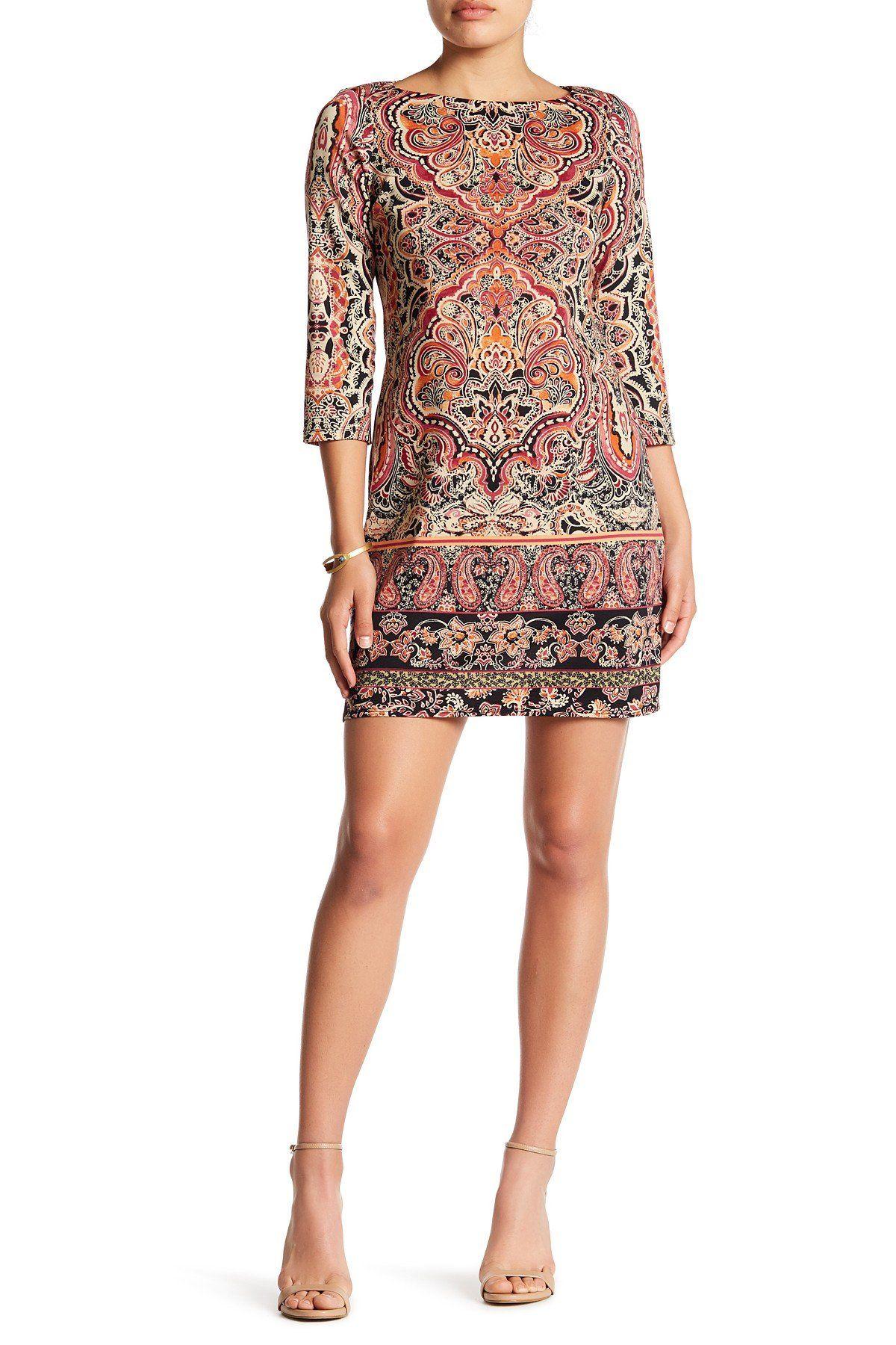 3/4 Length Sleeve Paisley Print Dress (Petite)