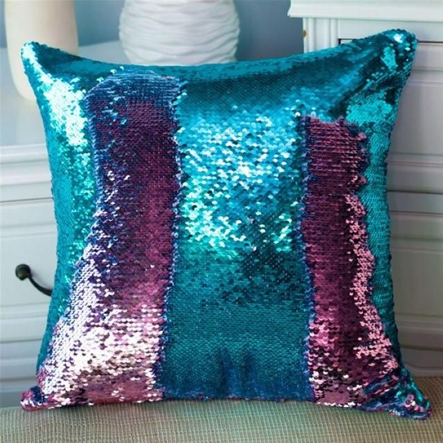 Two Tone Glitter Reversible Sequin Magical Color Changing Pillows Sequin Throw Pillows Decorative Pillow Cases Throw Pillows
