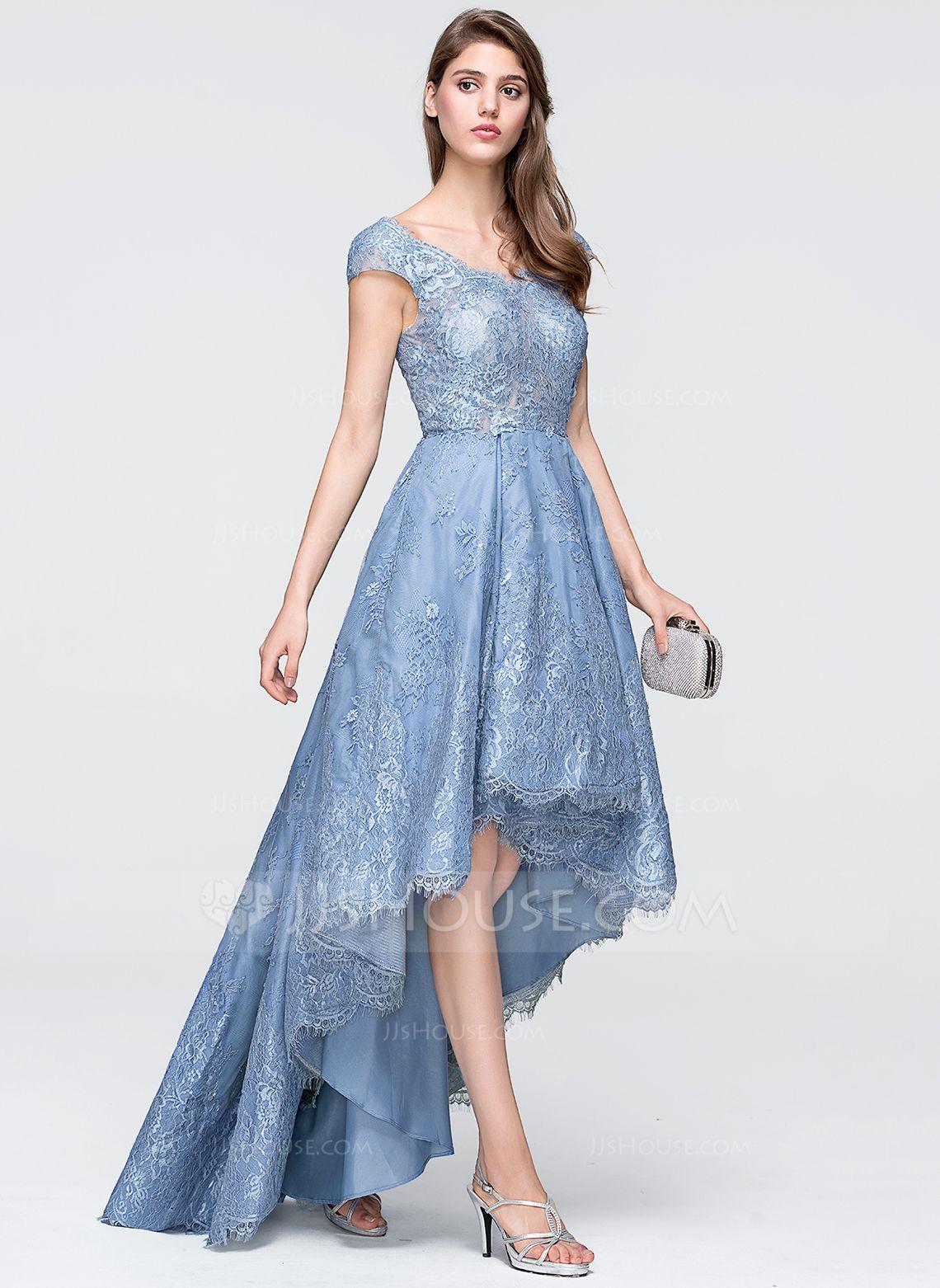 A-Line/Princess V-neck Asymmetrical Tulle Lace Prom Dresses ...