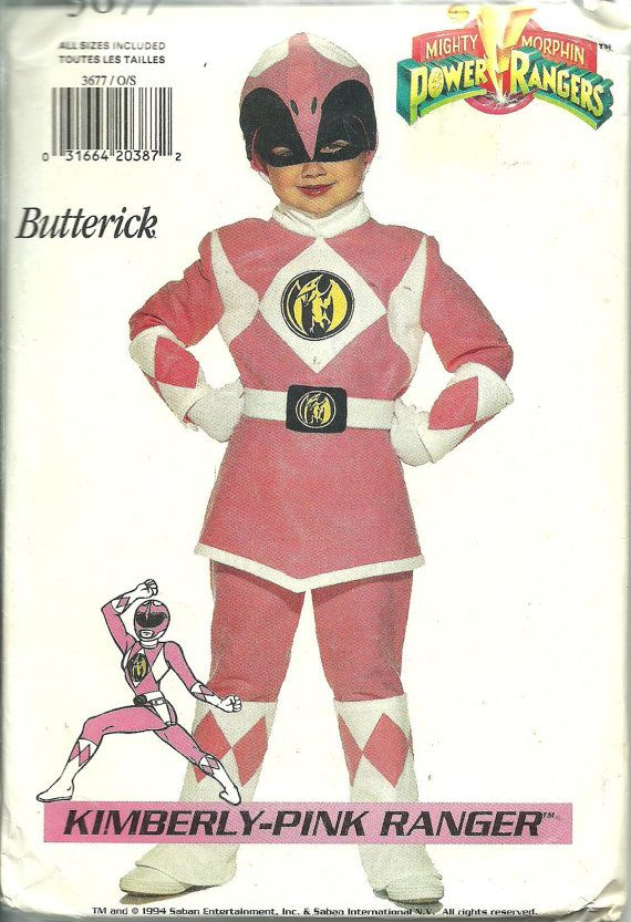Butterick Pattern 3677 Kimberly Pink Power Ranger Costume Child S-L UNCUT : pink power ranger child costume  - Germanpascual.Com