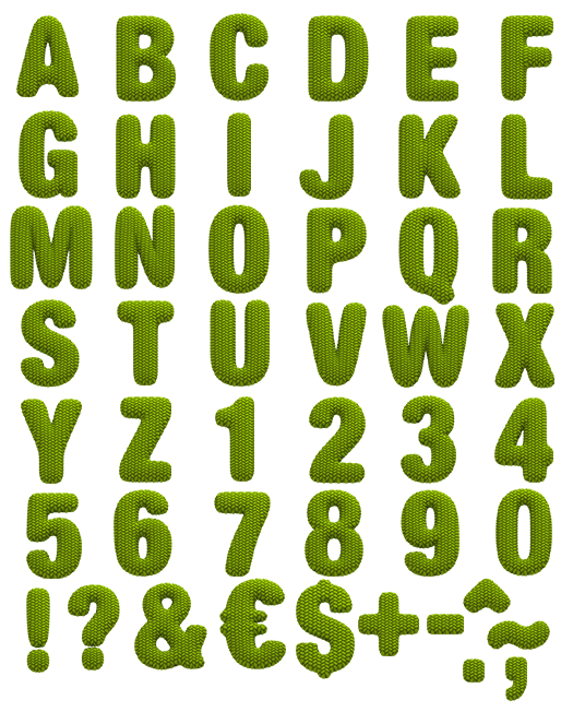 Knitting Letters Template : Knitted green font alphabet type typography