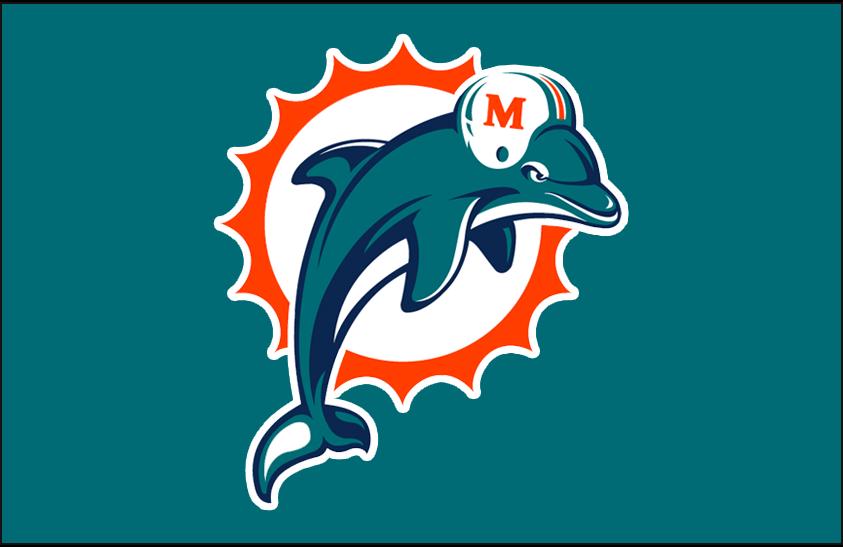 Miami Dolphins Primary Dark Logo 1997 2012 Miami Dolphins Primary Logo On Aqua Miami Dolphins Logo Dolphins Logo Miami Dolphins