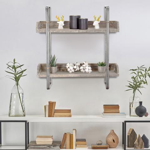 rustic whitewashed wood hanging shelves - americanartdecor
