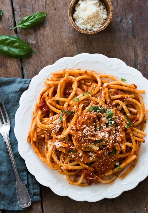 Pasta with Tomato Cream Sauce #tomatocreamsauces