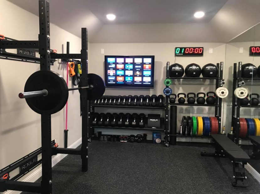 Undefined man cave home gym in gym room at home at