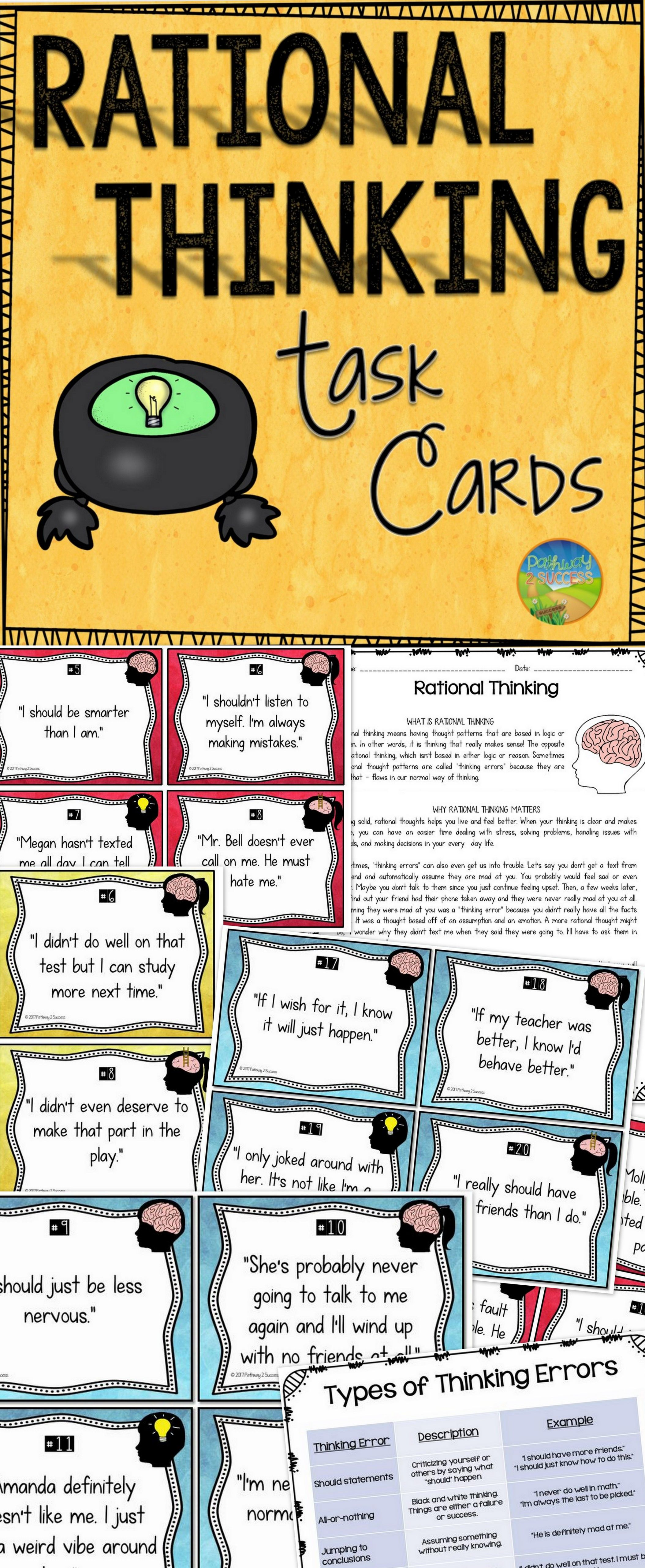Thinking Error And Rational Thinking Task Cards